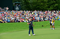 Francesco Molinari (ITA) after sinking his putt on 18 during Sunday's final round of the PGA Championship at the Quail Hollow Club in Charlotte, North Carolina. 8/13/2017.<br /> Picture: Golffile | Ken Murray<br /> <br />  <br /> All photo usage must carry mandatory copyright credit (&copy; Golffile | Ken Murray)