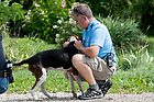 August 22, 2017; ND Trail day 9: Rochester to Culver. Brian Dean, Dog Whisperer. (Photo by Matt Cashore/University of Notre Dame)