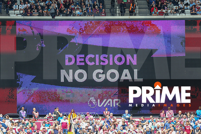 VAR rules out a third goal for Manchester City during the Premier League match between West Ham United and Manchester City at the London Stadium, London, England on 10 August 2019. Photo by David Horn.