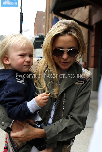 WWW.ACEPIXS.COM....April 18 2013, New York City....Actress Kate Hudson walks with her son bingham Bellamy in Tribeca on April 18 2013 in New York City....By Line: Nancy Rivera/ACE Pictures......ACE Pictures, Inc...tel: 646 769 0430..Email: info@acepixs.com..www.acepixs.com