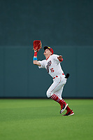 Auburn Doubledays outfielder Jake Randa (16) catches a fly ball during a NY-Penn League game against the Mahoning Valley Scrappers on August 27, 2019 at Falcon Park in Auburn, New York.  Auburn defeated Mahoning Valley 3-2 in ten innings.  (Mike Janes/Four Seam Images)