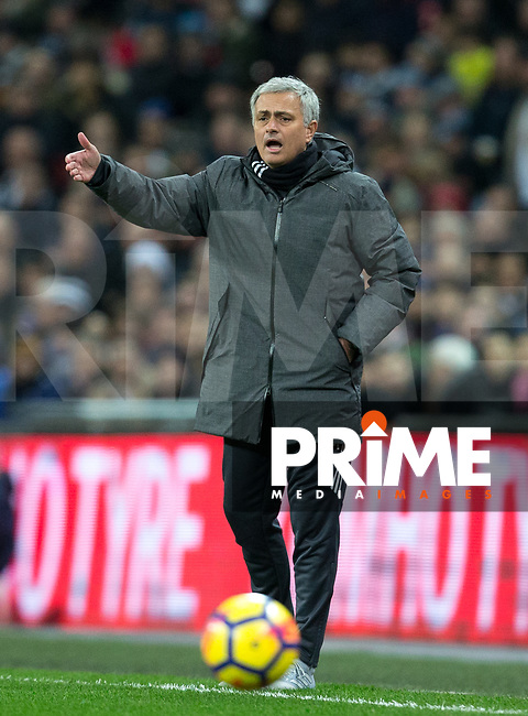 Man Utd Manager Jose Mourinho during the Premier League match between Tottenham Hotspur and Manchester United at Wembley Stadium, London, England on 31 January 2018. Photo by Andy Rowland.
