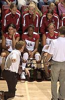 24 September 2005: Cynthia Barboza, Foluke Akinradewo, Michelle Mellard, Jennifer Wilson, Kristin Richards, and Alex Fisher during Stanford's 30-22, 31-29, 30-26 win against UCLA Bruins at Maples Pavilion in Stanford, CA
