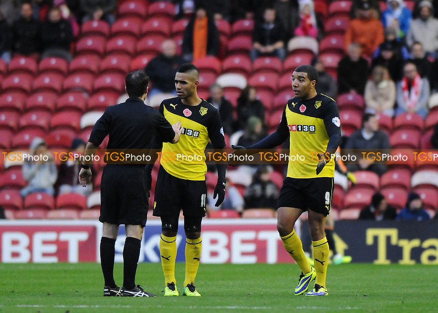 Watford players complain to referee Paul Herney - Middlesbrough vs Watford - Sky Bet Championship Football at the Riverside Stadium, Middlesbrough - 09/11/13 - MANDATORY CREDIT: Steven White/TGSPHOTO - Self billing applies where appropriate - 0845 094 6026 - contact@tgsphoto.co.uk - NO UNPAID USE