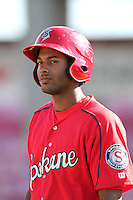 Spokane Indians outfielder Ruben Sierra,jr. #33 before game against the Salem-Keizer Valcanoes at Valcanoes Stadium on August 10, 2011 in Salem-Keizer,Oregon. Salem-Keizer defeated Spokane 7-6.(Larry Goren/Four Seam Images)