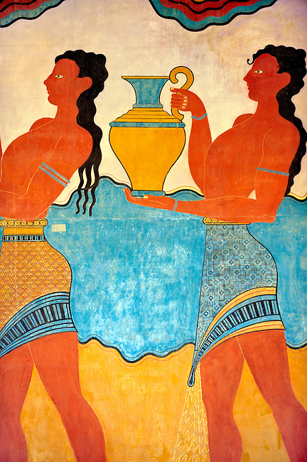 Arthur Evans reconstruction of Procession  Frescos of the  South Propylaeum of Knossos Minoan archaeological site, Crete