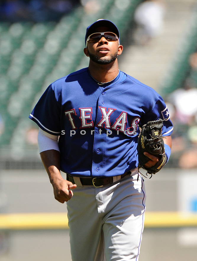 ELVIS ANDRUS, of the Texas Rangers in action during the Rangers game against the Chicago White Sox on August 21, 2011 at Cellular Field in Chicago, IL. The White Sox beat the Rangers 10-0.