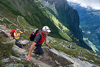 Soelden, Oetztal, Tyrol, Austria, August 2009. Hikers enjoy the views over Oetztal, from the Wetterkreuz and Biefelder Hut. A valley full of opposites, between action and relaxation. Lush green meadows and mighty rocks. White waters and eternal ice. Photo by Frits Meyst/Adventure4ever.com