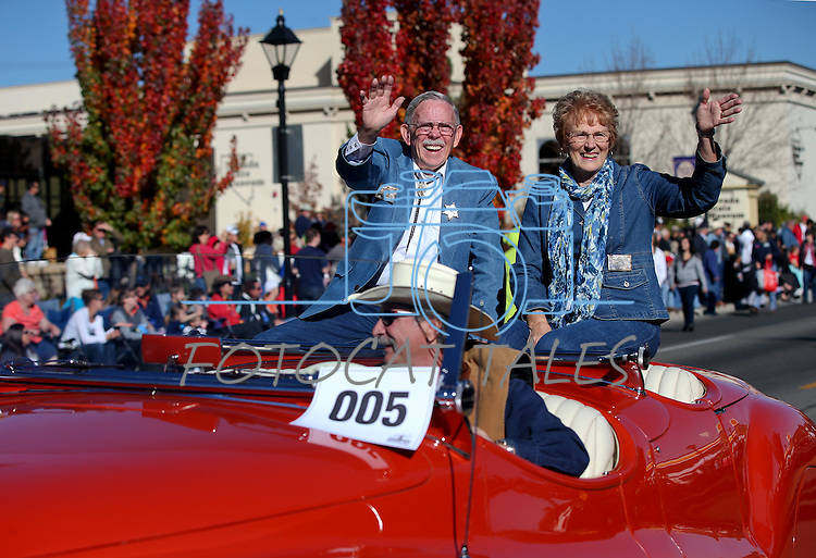 Nevada Day Grand Marshal Mike Shaughnessy and his wife Dawna ride in the 75th annual Nevada Day parade in Carson City, Nev., on Saturday, Oct. 26, 2013.<br /> Photo by Cathleen Allison