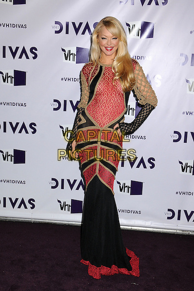 Charlotte Ross.VH1 Divas 2012 held at The Shrine Auditorium, Los Angeles, California, USA. .December 16th, 2012.full length red black beige gold pattern dress long sleeves lace hand on hip.CAP/ADM/BP.©Byron Purvis/AdMedia/Capital Pictures.