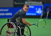 Rotterdam,Netherlands, December 15, 2015,  Topsport Centrum, Lotto NK Tennis, Wheelchair tennis, Mitchel Graauw (NED)<br /> Photo: Tennisimages/Henk Koster