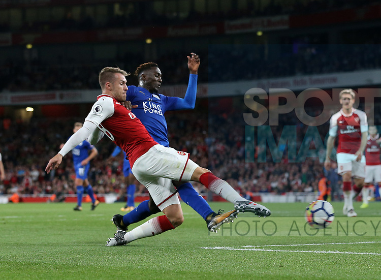 Arsenal's Aaron Ramsey scoring his sides third goal during the premier league match at the Emirates Stadium, London. Picture date 11th August 2017. Picture credit should read: David Klein/Sportimage