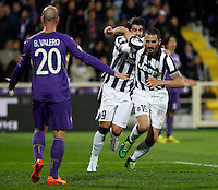 Calcio, Coppa Italia: semifinale di ritorno Fiorentina vs Juventus. Firenze, stadio Artemio Franchi, 7 aprile 2015. <br /> Juventus' Leonardo Bonucci, right, celebrates with teammate Alvaro Morata after scoring as Fiorentina's Borja Valero, left, reacts during the Italian Cup semifinal second leg football match between Fiorentina and Juventus at Florence's Artemio Franchi stadium, 7 April 2015.<br /> UPDATE IMAGES PRESS/Isabella Bonotto