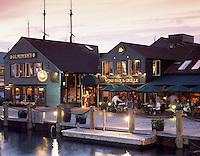 USA, Newport, RI - 22 Bowen's wine bar and grille restaurant on Bowen's wharf - exterior shot.