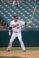 Bowie Baysox designated hitter Mark Trumbo (33) at bat during an Eastern League game against the Akron RubberDucks on May 30, 2019 at Prince George's Stadium in Bowie, Maryland.  Akron defeated Bowie 9-5.  (Mike Janes/Four Seam Images)