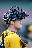 Bowling Green Hot Rods catcher Justin O'Conner #10 during practice before a game against the Dayton Dragons on April 20, 2013 at Fifth Third Field in Dayton, Ohio.  Dayton defeated Bowling Green 6-3.  (Mike Janes/Four Seam Images)