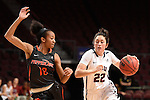 March 5, 2015; Las Vegas, NV, USA; Loyola Marymount Lions guard Olivia Lucero (22) dribbles the basketball against Pepperdine Waves guard Bria Richardson (10) during the first half of the WCC Basketball Championships at Orleans Arena.