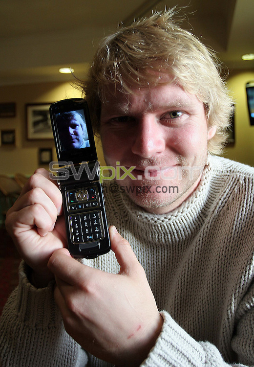 PICTURE BY VAUGHN RIDLEY/SWPIX.COM -  Cricket - Matthew Hoggard - Baildon, England - 16/10/06...Copyright - Simon Wilkinson - 07811 267706...Matthew Hoggard tries out his new video phone, the Nokia N93, which he will use while on the Ashes Tour in Australia to report to The Times what is happening behind the scenes in the England camp.