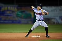 Jupiter Hammerheads second baseman Riley Mahan (2) throws to first base during a game against the Daytona Tortugas on April 13, 2018 at Jackie Robinson Ballpark in Daytona Beach, Florida.  Daytona defeated Jupiter 9-3.  (Mike Janes/Four Seam Images)