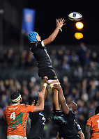 Zach Mercer of Bath Rugby rises high to win lineout ball. European Rugby Champions Cup match, between Bath Rugby and Benetton Rugby on October 14, 2017 at the Recreation Ground in Bath, England. Photo by: Patrick Khachfe / Onside Images