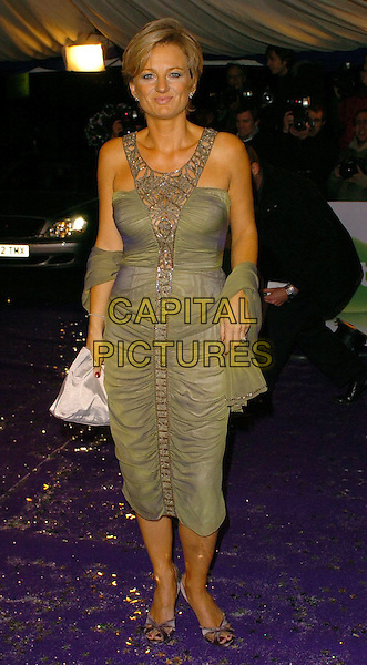 ALICE BEER.British Comedy Awards 2005 Arrivals, London..UK, United Kingdom..14th December 2005.Ref: CAN.full length green silk satin fitted ruffled dress embroidered croqueted panel matching shawl pashmina.www.capitalpictures.com.sales@capitalpictures.com.©Capital Pictures