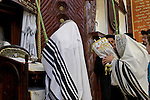 Israel, Bnei Brak. Succot holiday at the Premishlan congregation. The Rebbe prays in front of the Ark<br />
