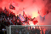 The Chicago Fire fans of Section 8 light flares to spur on the Fire.  Real Salt Lake defeated the Chicago Fire in a penalty kick shootout 0-0 (5-4 PK) in the Eastern Conference Final at Toyota Park in Bridgeview, IL on November 14, 2009.
