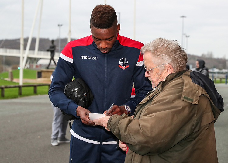 Bolton Wanderers' Sammy Ameobi signs an autograph for a fan<br /> <br /> Photographer Andrew Kearns/CameraSport<br /> <br /> Emirates FA Cup Third Round - Bolton Wanderers v Walsall - Saturday 5th January 2019 - University of Bolton Stadium - Bolton<br />  <br /> World Copyright © 2019 CameraSport. All rights reserved. 43 Linden Ave. Countesthorpe. Leicester. England. LE8 5PG - Tel: +44 (0) 116 277 4147 - admin@camerasport.com - www.camerasport.com