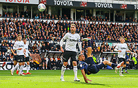 Leeds United's Kemar Roofe tries an overhead kick<br /> <br /> Photographer Alex Dodd/CameraSport<br /> <br /> The EFL Sky Bet Championship Play-off  First Leg - Derby County v Leeds United - Thursday 9th May 2019 - Pride Park - Derby<br /> <br /> World Copyright © 2019 CameraSport. All rights reserved. 43 Linden Ave. Countesthorpe. Leicester. England. LE8 5PG - Tel: +44 (0) 116 277 4147 - admin@camerasport.com - www.camerasport.com