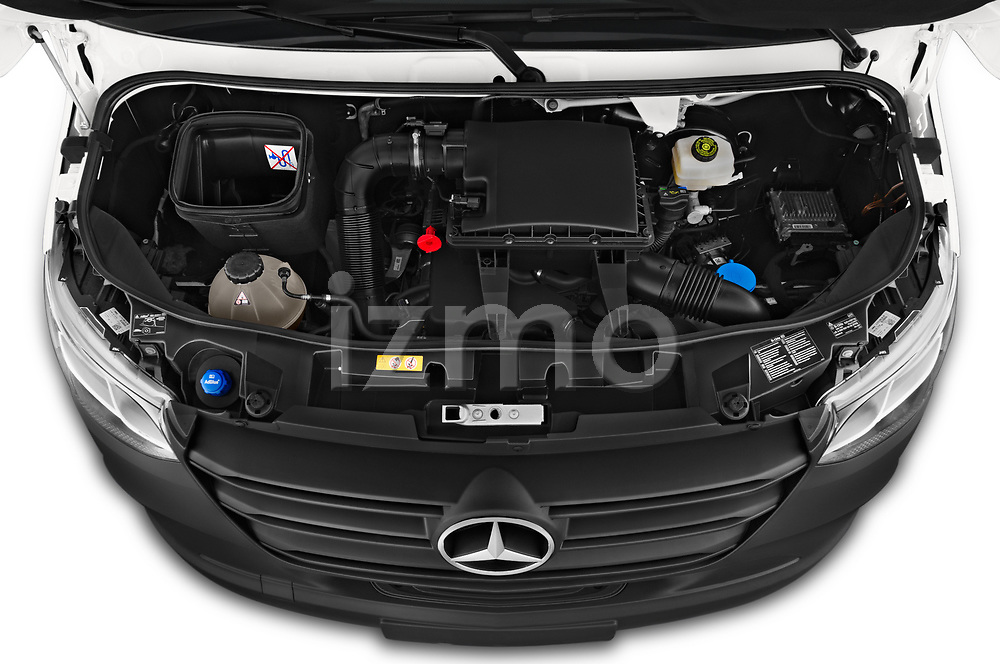 Car Stock 2019 Mercedes Benz Sprinter-Box-Van - 2 Door Chassis Cab Engine  high angle detail view