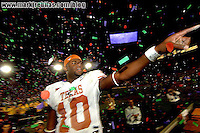 Jan 4, 2006; Pasadena, CA, USA; Texas Longhorns quarterback (10) Vince Young  celebrates after defeating the Southern California Trojans at the Rose Bowl in Pasadena, California. The Texas Longhorns defeated the Trojans 41-38. Mandatory Credit: Mark J. Rebilas-US PRESSWIRE Copyright © 2006 Mark J. Rebilas