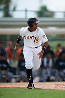 GCL Pirates designated hitter Jhoan Herrera (15) runs to first during the first game of a doubleheader against the GCL Yankees 2 on July 31, 2015 at the Pirate City in Bradenton, Florida.  GCL Pirates defeated the GCL Yankees 2 2-1.  (Mike Janes/Four Seam Images)