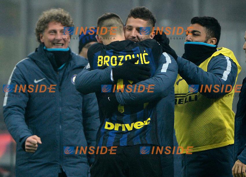 Esultanza gol di Marcelo Brozovic Inter 2-0. Celebration goal con Stevan Jovetic<br /> Milano 11-12-2016 Stadio Giuseppe Meazza - Football Calcio Serie A Inter - Genoa. Foto Giuseppe Celeste / Insidefoto