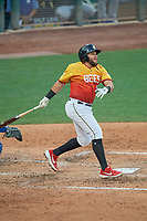 Jose Rojas (8) of the Salt Lake Bees at bat against the Oklahoma City Dodgers at Smith's Ballpark on August 1, 2019 in Salt Lake City, Utah. The Bees defeated the Dodgers 14-4. (Stephen Smith/Four Seam Images)