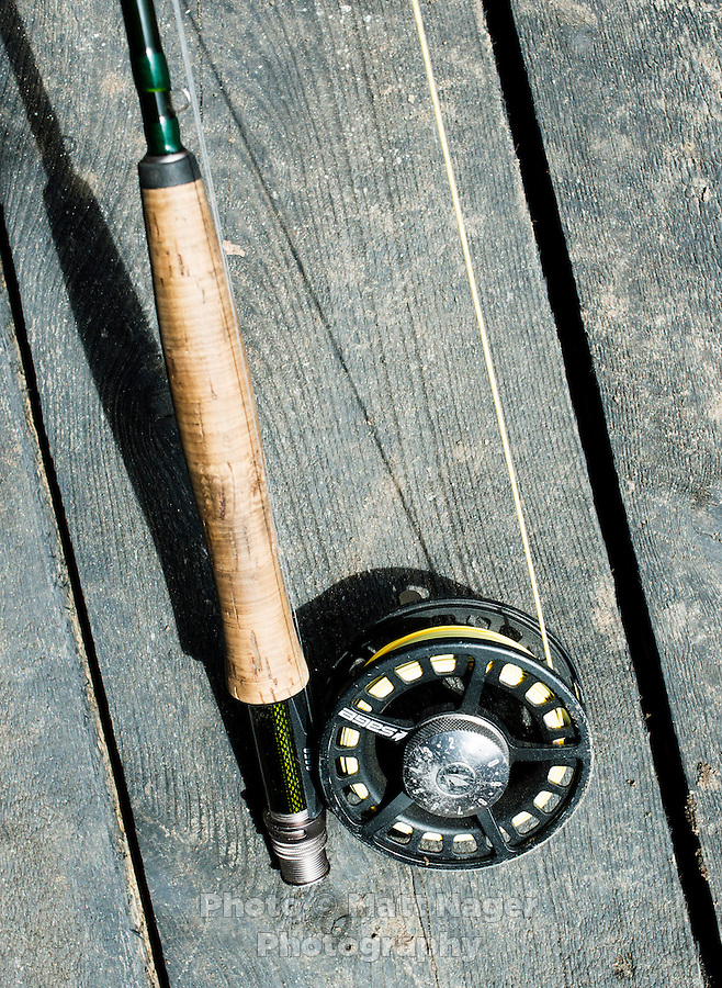 A fly fishing rod is prepared for fishing at the Broadmoor Hotel fishing lodge near Colorado Springs, Colorado, Monday, May 4, 2015. <br /> <br /> Photo by Matt Nager