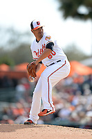 Baltimore Orioles pitcher Eddie Gamboa (80) during a spring training game against the Philadelphia Phillies on March 7, 2014 at Ed Smith Stadium in Sarasota, Florida.  Baltimore defeated Philadelphia 15-4.  (Mike Janes/Four Seam Images)