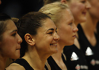 The Silver ferns including Temepara George (2nd left) line up before tipoff during the International  Netball Series match between the NZ Silver Ferns and World 7 at TSB Bank Arena, Wellington, New Zealand on Monday, 24 August 2009. Photo: Dave Lintott / lintottphoto.co.nz