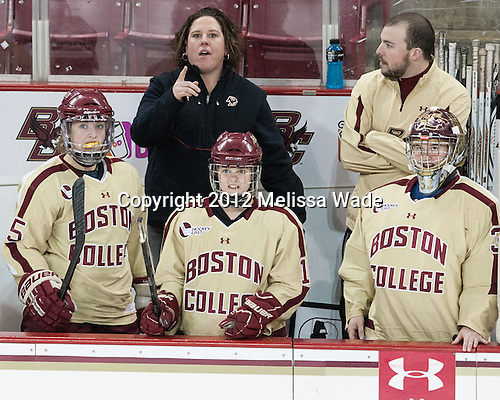 Jackie Young (BC - 25), Courtney Kennedy (BC - Associate Head Coach), Emily Pfalzer (BC - 14), Taylor Blake (BC - 35) - The Boston College Eagles defeated the visiting University of Maine Black Bears 10-0 on Saturday, December 1, 2012, at Kelley Rink in Conte Forum in Chestnut Hill, Massachusetts.