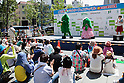 (L to R) Fukuchiyama City mascot characters Goya Sensei and Chibi Goya perform during the ''Local Characters Festival in Sumida 2015'' on May 31, 2015, Tokyo, Japan. The festival is held by Sumida ward, Tokyo Skytree town, the local shopping street and ''Welcome Sumida'' Tourism Office. Approximately 90 characters attended the festival. According to the organizers the event attracts more than 120,000 people every year. The event is held form May 30 to 31. (Photo by Rodrigo Reyes Marin/AFLO)