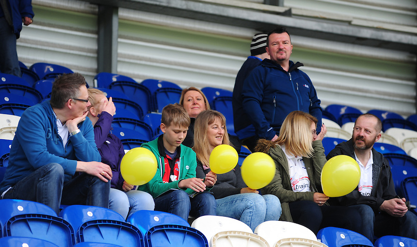 Preston North End fans before kick off<br /> <br /> Photographer Chris Vaughan/CameraSport<br /> <br /> Football - The Football League Sky Bet League One - Colchester United v Preston North End - Sunday 3rd May 2015 - Weston Homes Community Stadium - Colchester<br /> <br /> &copy; CameraSport - 43 Linden Ave. Countesthorpe. Leicester. England. LE8 5PG - Tel: +44 (0) 116 277 4147 - admin@camerasport.com - www.camerasport.com