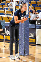 11 September 2011:  FIU Assistant Coach Ines Medved encourages players prior to the match.  The FIU Golden Panthers defeated the Florida A&M University Rattlers, 3-0 (25-10, 25-23, 26-24), at U.S Century Bank Arena in Miami, Florida.