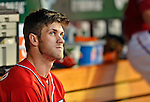 19 May 2012: Washington Nationals outfielder Bryce Harper glances up to the scoreboard during a game against the Baltimore Orioles at Nationals Park in Washington, DC. The Orioles defeated the Nationals 6-5 in the second game of their 3-game series. Mandatory Credit: Ed Wolfstein Photo