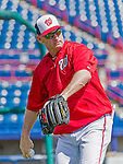 5 March 2015: Washington Nationals Manager Matt Williams tosses some ball prior to a Spring Training game against the New York Mets at Space Coast Stadium in Viera, Florida. The Nationals rallied to defeat the Mets 5-4 in Grapefruit League play. Mandatory Credit: Ed Wolfstein Photo *** RAW (NEF) Image File Available ***
