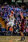 8 December 2018: University of Vermont Guard Ernie Duncan, a Redshirt Senior from Evansville, IN, in first half action against the Harvard University Crimson at Patrick Gymnasium in Burlington, Vermont. The America East Catamounts rallied to defeat the Ivy League Crimson 71-65 in NCAA Division I inter-league play. Mandatory Credit: Ed Wolfstein Photo *** RAW (NEF) Image File Available ***