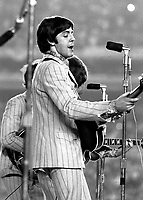 Paul McCartney in the Beatles' last concert at Shea Stadium.