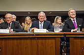 Former United States Senator Sam Nunn (Democrat of Georgia), left, and former US Secretary of Defense William Cohen, right, appear before the United States Senate Committee on Armed Services as it holds a confirmation hearing on the nomination of US Marine Corps General James N. Mattis (retired), center, to be Secretary of Defense on Capitol Hill in Washington, DC on Thursday, January 12, 2017.  Nunn and Cohen each introduced and endorsed Mattis for the post.<br /> Credit: Ron Sachs / CNP