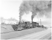 RGS 2-8-0 #42 and D&amp;RGW K-27 #454 double-heading a freight in Dallas Divide area.<br /> RGS  Dallas Divide, CO  Taken by Reid, Homer - WWII 1942-1945