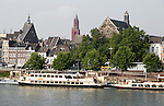 Tourist boats on the river Maas or Meuse, Maastricht, Limburg province, Netherlands