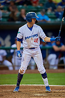 Jon Littell (48) of the Ogden Raptors at bat against the Grand Junction Rockies at Lindquist Field on September 9, 2019 in Ogden, Utah. The Raptors defeated the Rockies 6-5. (Stephen Smith/Four Seam Images)