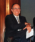 New York City Mayor Rudolph Giuliani smiles as he is introduced to speak at the Innovations in American Government confrence at the National Press Club in Washington, DC on October 7, 1997..Credit: Ron Sachs / CNP